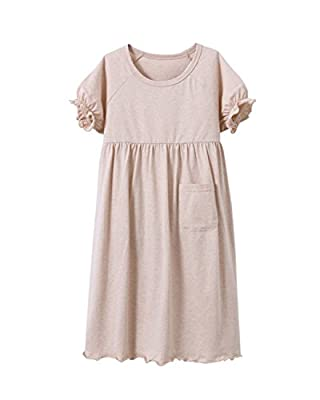 MZLIU Girls Kids Summer Short Sleeve Organic Cotton Nightgown Sleepwear Pajamas(3y-13y)