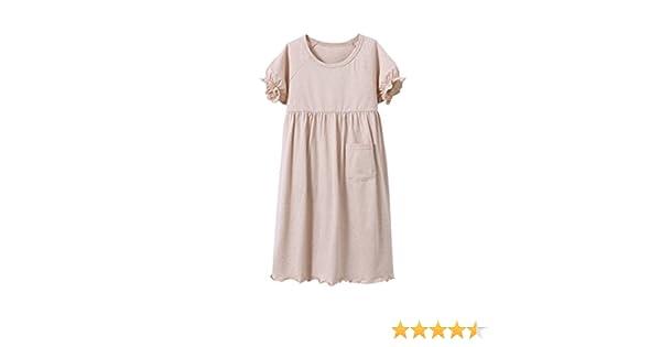 ae27eb88ca Amazon.com  MZLIU Girls Kids Summer Short Sleeve Organic Cotton Nightgown  Sleepwear Pajamas(3y-13y)  Clothing