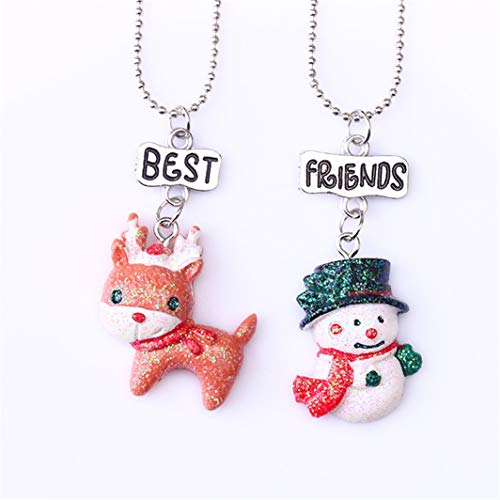 YouCY Christmas Fawn Snowman Necklace DIY Pendant Necklace Best Friends Wapiti Christmas Decoration Pendant Fashion Jewelry For Women Girls Boy Kid
