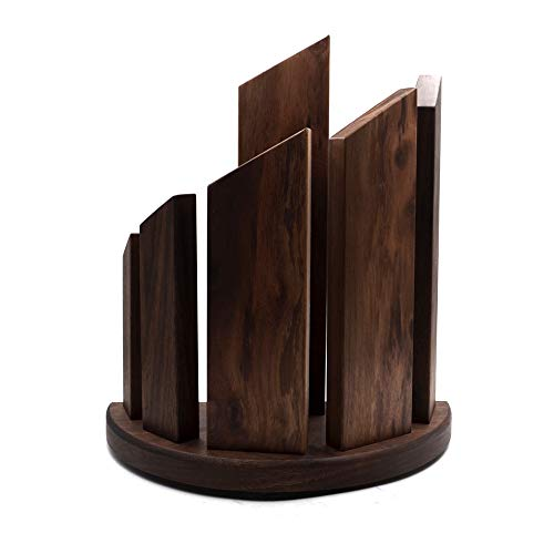 Authentic Walnut Wood Magnetic Knife Block, (MKB 749) Made of Real Walnut Wood, Encrusted With Magnets To Beautifully Showcase Your Knives