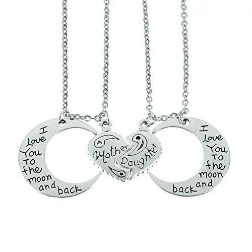 Price comparison product image I Love You To The Moon And Back Necklaces Set heart , mother daughter necklace set for 2 Half Broken Heart Necklace ,Two Piece Double Necklace Set (Cloud)