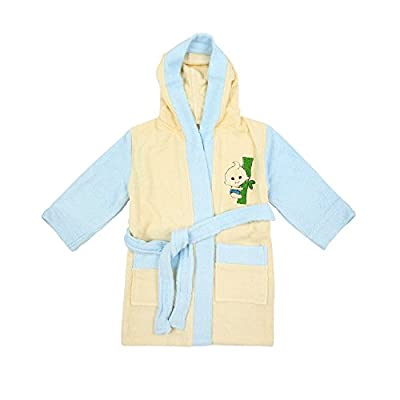 100% Bamboo Kid's Bathrobe Yellow-Blue, Ultra Soft, High Absorbency