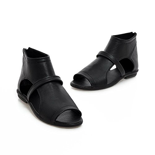 AmoonyFashion Womens Low-heels Soft Leather Solid Zipper Open-Toe Sandals Black CRlTtyO