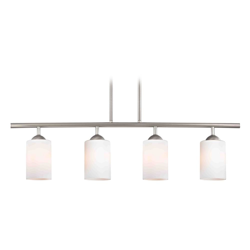 Modern Island Light with White Glass in Satin Nickel Finish by Design Classics