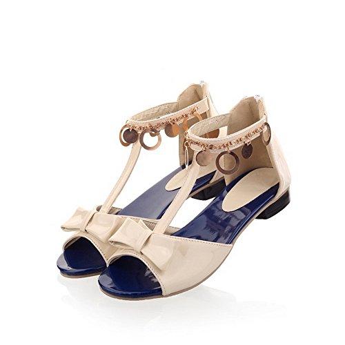 PU Bowknot Low Lackleder Open Sandalen Heels Womens Toe mit VogueZone009 Beige qRpcg6Z