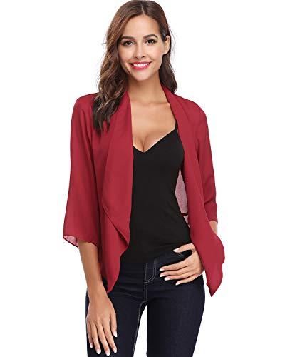 Hawiton Women's Open Front Light Cardigan 3/4 Sleeve Thin Chiffon Blazer Red