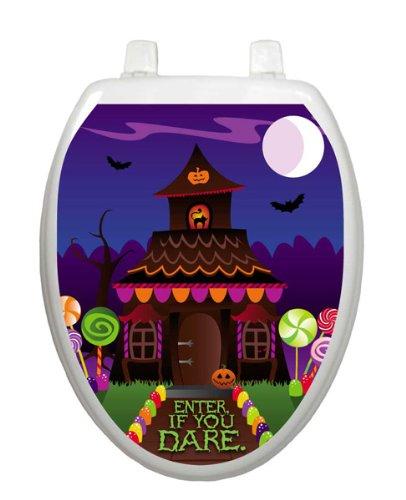 Haunted House Toilet Tattoo TT-H701-O Elongated Halloween Pumpkin -