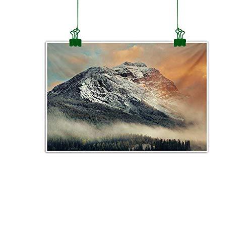 Anzhutwelve National Parks,Canvas Art Painting Snowy Mountains at Sunset Hazy Weather Magical Yoho Alberta Image Print Kitchen Wall decorGrey Orange W 32