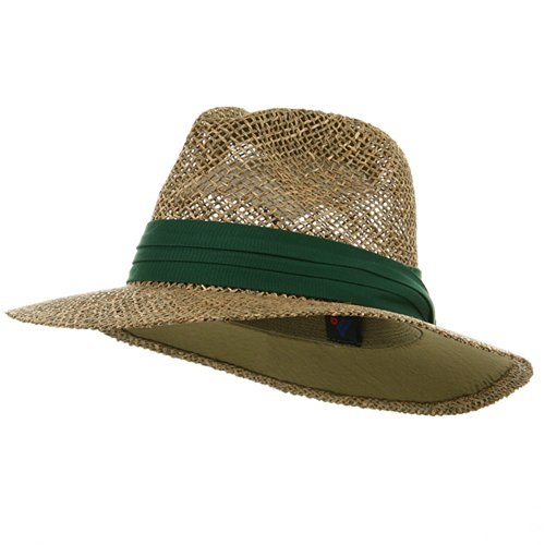 [Safari Straw Hat - Dk Green Band] (Straw Safari Hat)