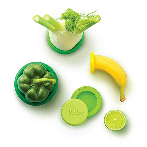 Food Huggers Reusable Silicone Food Savers Set of Five (Fresh Greens) ()