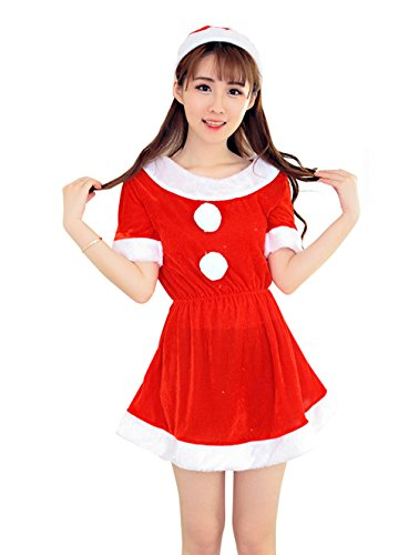 YFFaye Women's Sexy Makeup Ball Red Mini Dress Set (Sexiest Marvel Women)