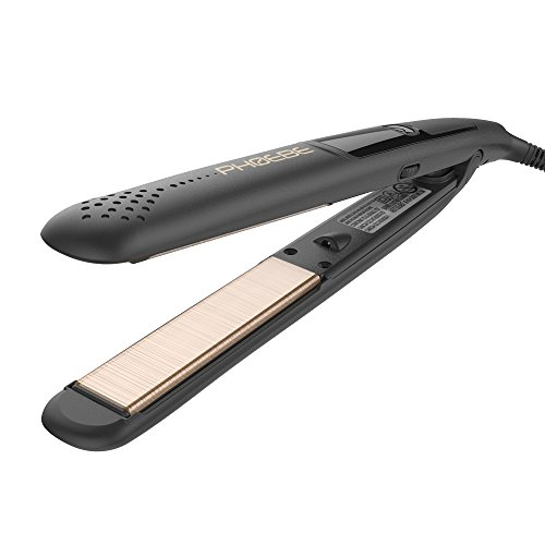 PHOEBE Nano Fiber Flat Iron, 1 Inch Dual Voltage Ceramic Tourmaline Hair Straightener, Professional MCH Instant Heat up Auto Shut off LCD Digital Straightener Iron for All Hair Types(Black)