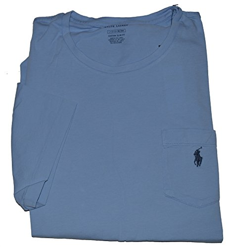 Polo Ralph Lauren Men's Custom Slim Fit Crew Neck Pocket Short Sleeve T Shirt (Large, Course Blue) (T-shirt Ralph Lauren Pocket)