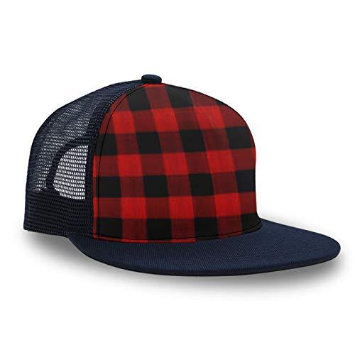 Kids Casual Baseball Snapback Cap Mudder Trucker Hat Relaxed Fit Adjustable Peaked Cap Dad Cap Hip-Pop Headwear Ball Cap Runner Cap Slouch Hat, Red Black Buffalo Check Plaid Pattern