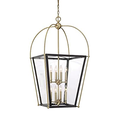 Savoy House 3-9074-8-79 Dunbar 8-Light Pendant in Matte Black w/Polishe Chrome accents