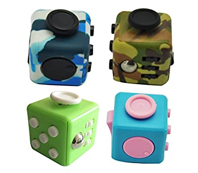 Hand Fidgets Cubes Stress Reliever Anti-anxiety Toys Variety Pack of 4 (CUBE-Set 2)