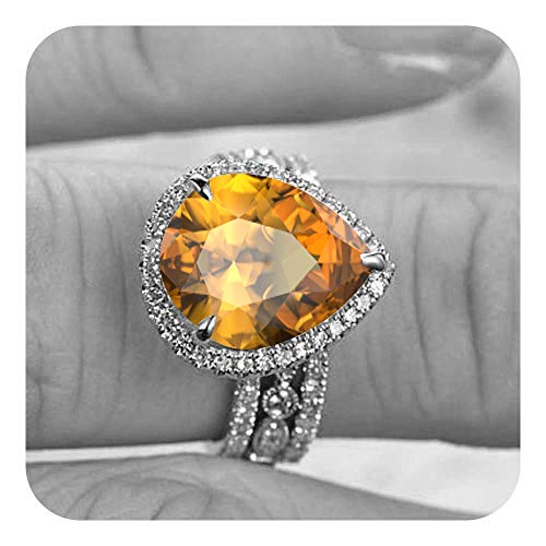 Dabangjewels 9x12 Pear Cut Created Citrine & Diamond 14k Plated Wedding Anniversary 3Pcs Bridal Band Ring Set for Women