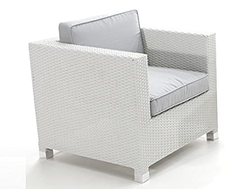 Sillon 1 plaza rattan blanco artic con cojines gris: Amazon ...