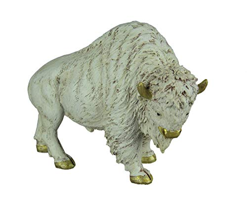 DeLeon Collections Resin Statues Gilt Accented White Buffalo Statue 8.5 X 6.5 X 3 Inches Off-White
