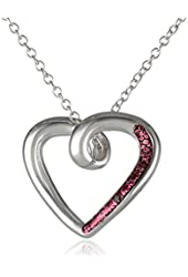 """Sterling Silver Red Diamond-Accented Open Heart Pendant Necklace, 18"""""""