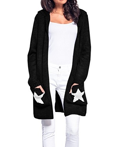 Hestenve Womens Hooded Chunky Cardigan Star Open Front Knitted Sweater Coat (Knitted Hooded Cardigan)