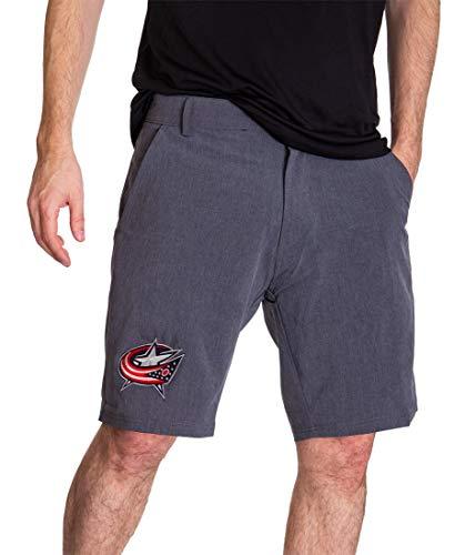 NHL Mens 4-Way Stretch Performance Short (Columbus Blue Jackets, Medium) Columbus Blue Jackets Shorts