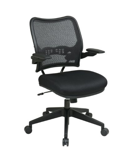 SPACE Seating Deluxe AirGrid Back with Mesh Seat, 2-to-1 Synchro Tilt, Cantilever Arms and Nylon Base Managers Chair, Black