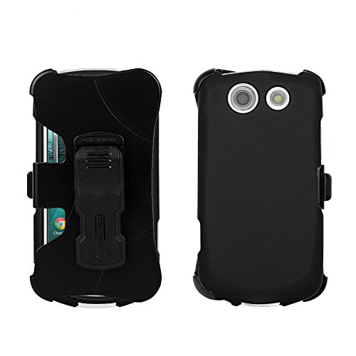 Beyond Cell For Kyocera Brigadier E6782 (Verizon,Sprint,International) Durable protection 3 in 1 Kombo Protex Hard Shell Slim Light Weight 2 Piece Snap On Rubberized Rubber Coated Case with Holster Belt Clip & FREE Screen Protector - Black