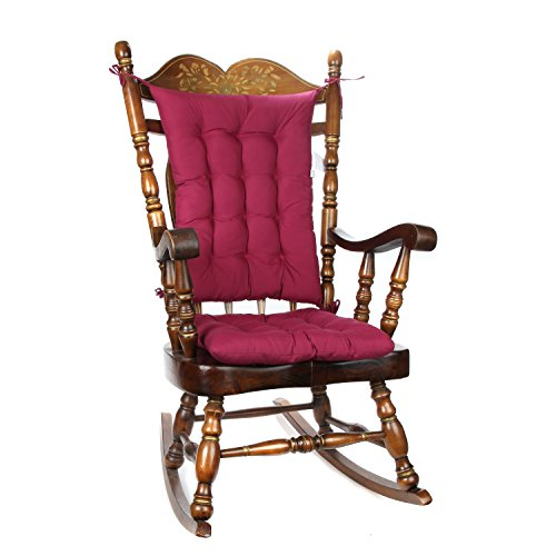 (Trenton Gifts 2 Piece Padded Rocking Chair Cushion Set - Burgundy)