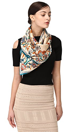 Jeelow 100% Luxurious Mulberry Silk Large Square Scarf Shawl Wrap Scarfs For Women 16 Mommes 43in Evening Dresses