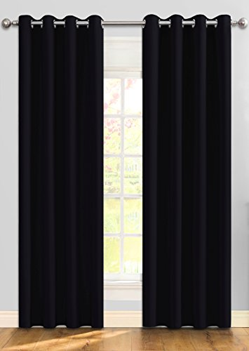 Ifblue Blackout 2 Panels Curtains Room Darkening Drapes 2 Panels 52 X 63 Inch Black