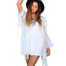 Imixshopcs Women Lace Crochet Kimono Tassels Cardigan Tops Blouse Shirt Bikini Cover Up (S, White)