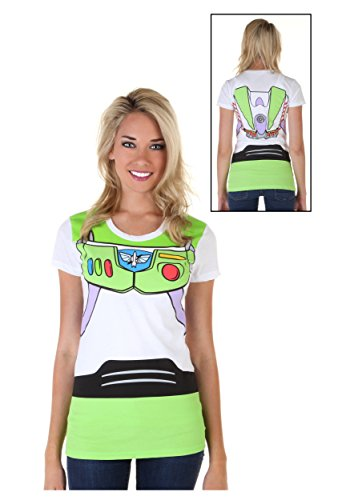 Toy Story Buzz Lightyear Juniors Astronaut Costume White T-shirt (Juniors Medium)]()