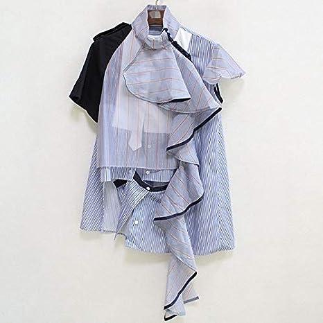 SETGVFG Blusa De Verano A Rayas para Mujer, Cuello Alto, Volantes Irregulares, Camisa De Retazos De Color De Moda Femenina, Nueva: Amazon.es: Deportes y aire libre