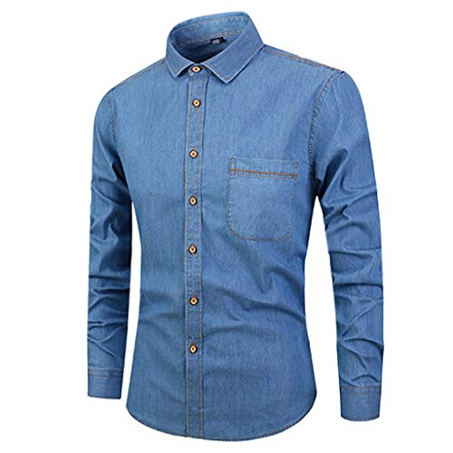 (Sunhusing Mens Button-Buckle Painting Color Slim Fit Long Sleeve Lapel Stitching T-Shirt Top with Pocket Blue)