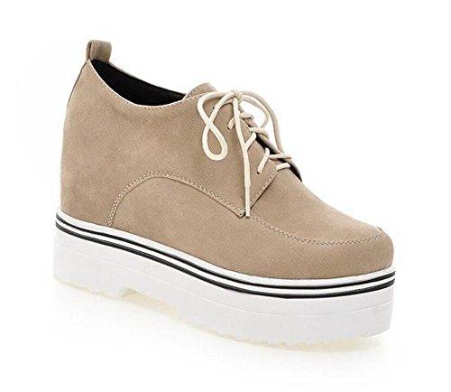 XIE Retro Corte Zapatos de Cuero Mate de Tacón de Cuña de Baja Superficie Embellecido de Encaje -Up Shoes, Meters White, 39 METERSWHITE-38