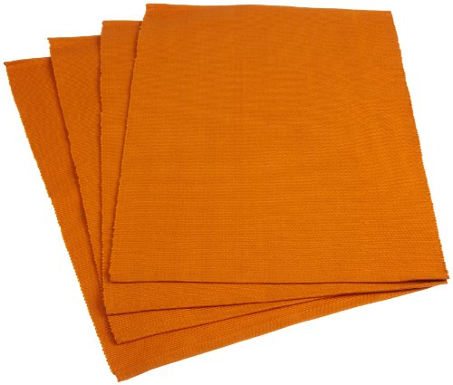 Mahogany Solid-Color 100-Percent Cotton Ribbed Placemat, 13-Inch by 19-Inch, Orange, Set of (Orange Ribbed)