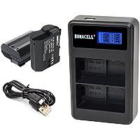 Bonacell 2 Pack Replacement 2000mAh Nikon EN-EL15 Battery and LCD Dual Charger for Nikon 1 V1, D7000, D7100, D7200, D800, D800E, D810, D810A, D750, D600, D610 Digital SLR Camera