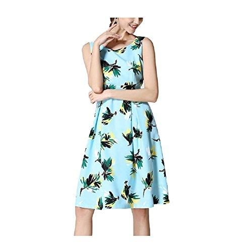 Blue Dress Mini Retro Lingjiu Sleeve Long Cocktail Dress Sleeveless Slimming Women Summer Vintage Waist High Party Light nPIqwqxaB4