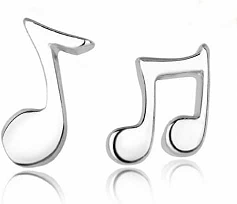megko Fashion Jewelry 925 Sterling Silver Music Note Shape Stud Earrings for Girls