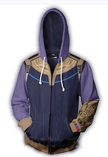 Thanos Hoodie Infinity War Cosplay Costume Super Villain Jacket Workout Gym Hoody 2XL