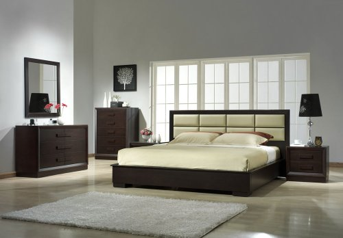 J&M Furniture Boston Brown Veneer with Off-White Leather Headboard Queen Size Bedroom Set