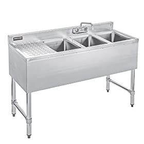DuraSteel 3 Compartment Stainless Steel Bar Sink with 10″ L x 14″ W x 10″ D Bowl – Underbar Basin – NSF Certified – No, Left, Right and Double Drainboard – Faucet Included