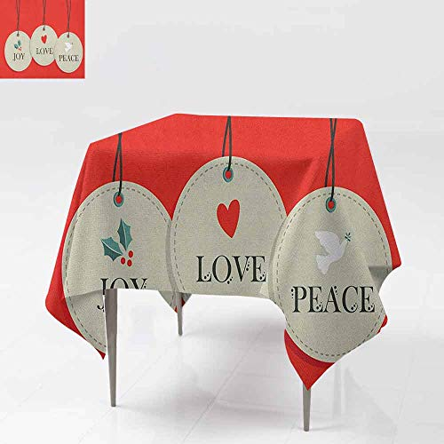 AndyTours Fashions Table Cloth,Christmas,Joy Love and Peace Words Pendants Merry Christmas Holiday Celebration Theme,Table Cover for Dining,60x60 Inch Vermilion