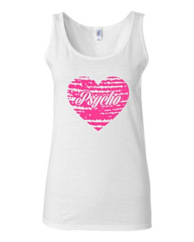 Junior Psycho Heart Love Pink Funny Humor Sleeveless Tank Tops (X Large, White) -