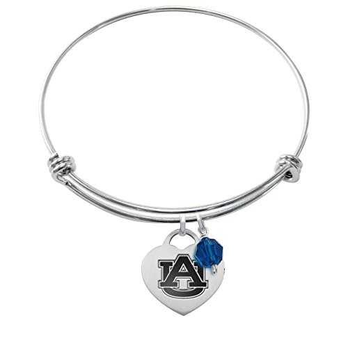 ess Steel Adjustable Bangle Bracelet with Heart Charm & Crystal Accent (Auburn Tigers Womens Stainless Steel)