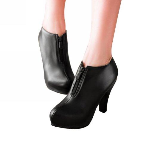 Charme Pied Mode Femmes Haut Talon Cheville Bottes Courtes Bottes Noir