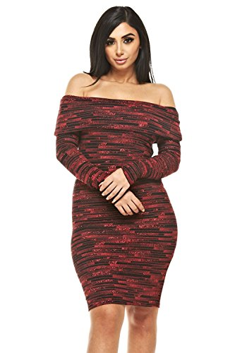 Avoir Aime Off Shoulder Long Sleeve Midi Glitter Striped Bodycon Winter Sweater Dress - Red, L