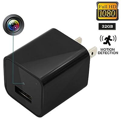 Daretang Hidden Cameras Charger Adapter ,HD 1080P USB Wall Charger Hidden Camera/Nanny Spy Camera Adapter for Home Security -32GB Internal Memory
