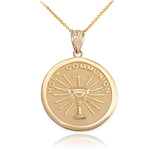 14k Gold Holy Communion Round Medal Pendant Necklace, 18